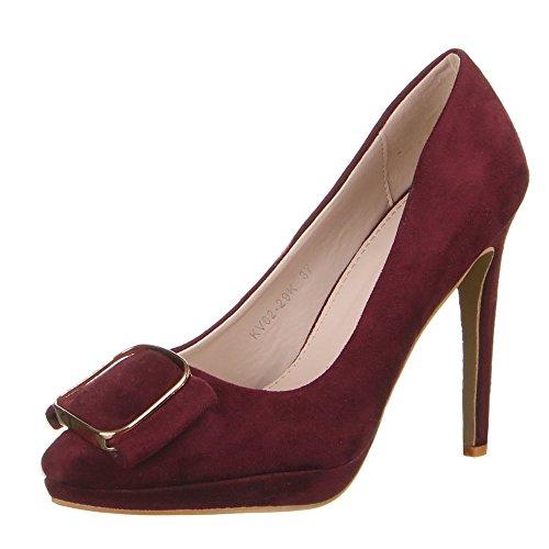 Ital-Design - Plataforma Mujer Rojo - borgoña