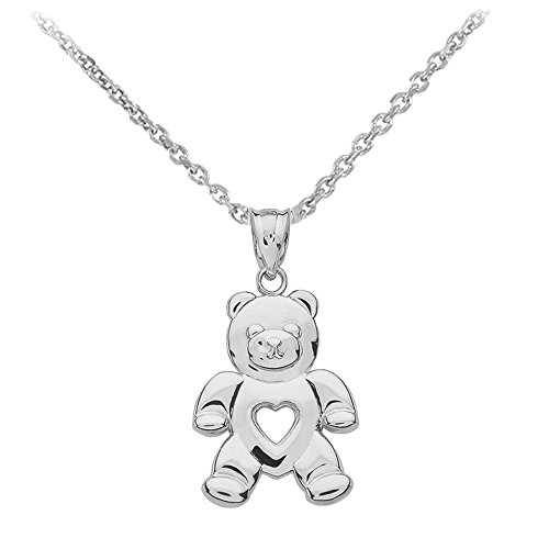 925 Sterling Silver Love Teddy Bear Charm Pendant Necklace, 20