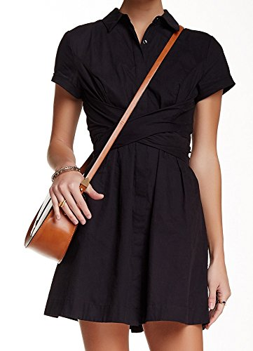 Free People Womens Wrap Belt Poplin Shirt Dress Black 8