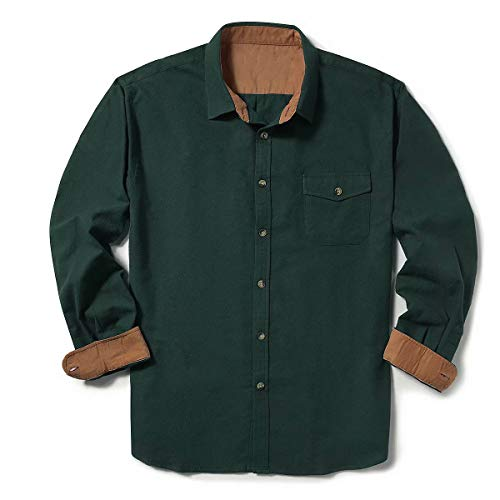 ZIOLOMA Men's Long Sleeve Flannel Solid Dress Shirts Western Button Down Shirts Black Green