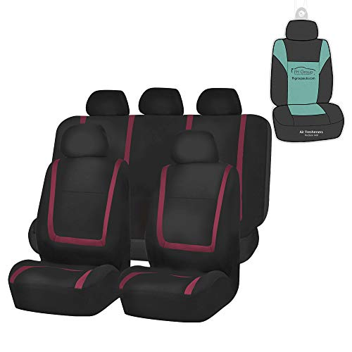 FH Group FB032115 Unique Flat Cloth Seat Covers (Burgundy) Full Set with Gift - Universal Fit for Cars Trucks and SUVs