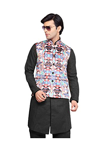Da Facioun Indian Mens Jacket Wedding Designer Party Wear White Satin Waist Coat. by Da Facioun