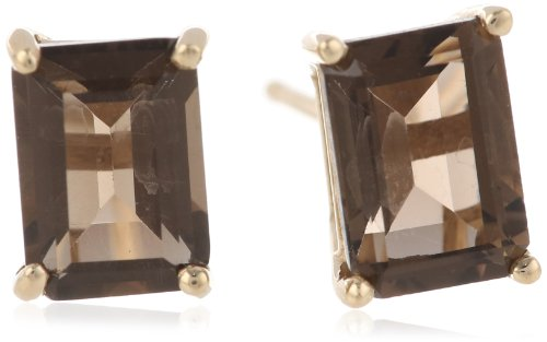 [14K Yellow Gold Smoky Quartz Emerald Cut Stud Earrings] (Emerald Cut Smoky Quartz Ring)
