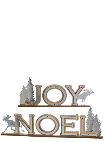 (Sullivans Christmas Tabletop Sign Décor, Rustic Wood Metal Joy and Noel, Outdoor Themed, 30