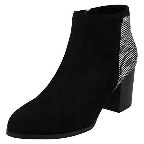 Womens Ankle Anne Block Boots Microfibre Ladies Michelle Black Heel f55wqFC