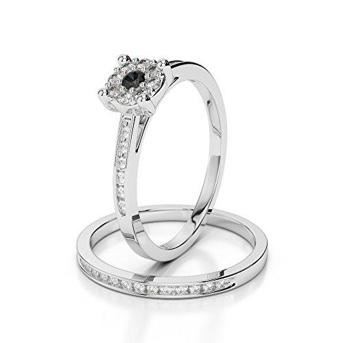 Or blanc 18carats 0,10ct G-H/VS sertie de diamants ronds Coupe Noir de mariage Bague de fiançailles et ensemble de Agdr-1052
