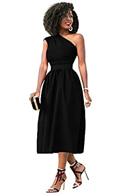GAMISOTE Womens One Shoulder Dress Elegant Summer Sexy Formal Evening A Line Midi Dresses