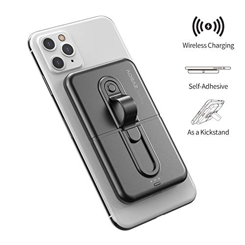 AIDEAZ Wireless Power Bank Mini Portable Charger 5000mAh, with Phone Finger Ring Holder Stand Qi Wireless Charger, Compatible with iPhone 8/X/Xs/XR/11 Pro/Nintendo Switch/Samsung S9/S9+/S10/S10+ etc.