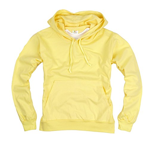 asic Light Cotton 100% Hooded tshirt Top Tee Hoody Hoodie US XL(3XL tag) Yellow (100% Cotton Hooded Top)