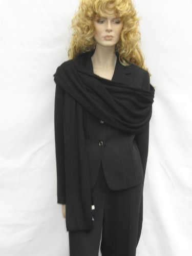 Cashmere Pashmina Group: Cashmere Scarf Shawl Stole Wrap (Sweater Knit Cashmere Shawl) Black by Cashmere Pashmina Group (Image #7)