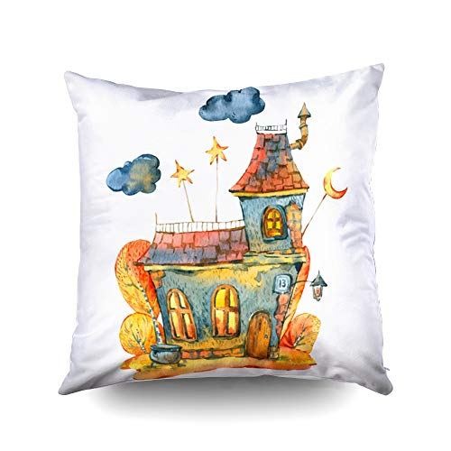 (ROOLAYS Zip Pillow Cases Square Throw Pillowcase Covers 16X16Inch Watercolor Halloween Black Old House Orange Moon Traditional Elements Isolated White Easter Both Sides Print Farmhouse Decor)