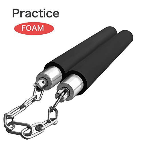 Nunchucks for Kids,Nunchucks Women,Foam Nunchucks for Adult Beginners Martial Arts Real Training Black Party Favors with A String Karate Rope Practice Ninjia Toy Weapons (Black, 11in)