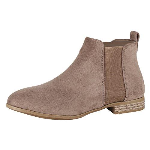 napoli-fashion Damen Stiefeletten Flache Chelsea Boots Leder-Optik Schuhe Gr. 36-41 Jennika Khaki