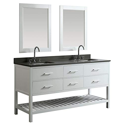 """LC72BWG Valencia 72"""" Double Vanity Set in White with Gray Quartz Top, Sink, and Mirror"""