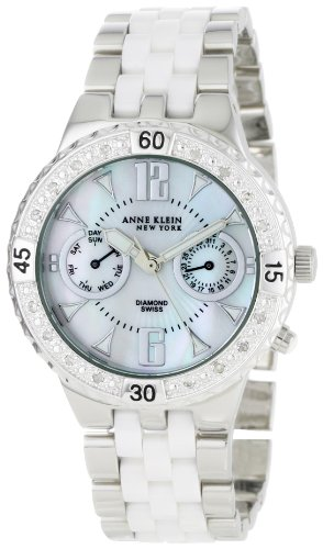 Anne Klein New York Women's 12-1641WMWB Diamond Accented White Ceramic and Stainless Steel Watch