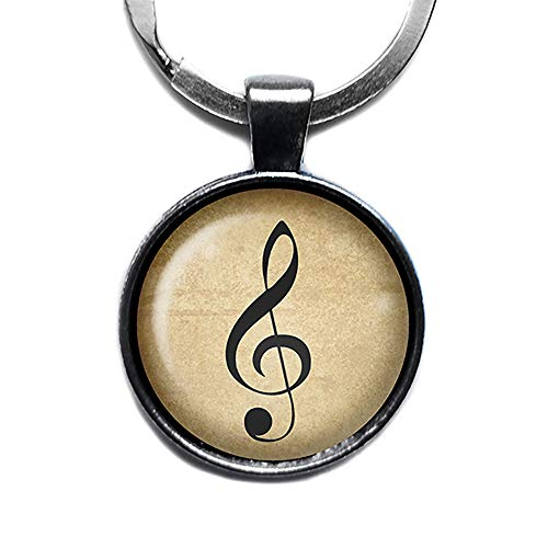 (Sheet Music Musical Note Silver Keychain Keyring)