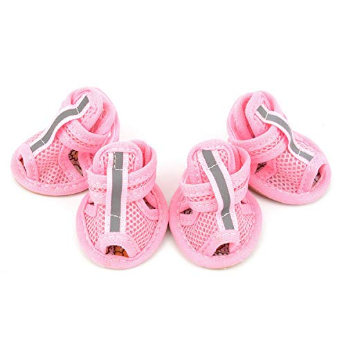 Zunea Summer Mesh Breathable Dog Shoes Sandals Non Slip Paw Protectors Reflective Adjustable Girls Female,for Small Pet Dog Cat Puppy Pink XS