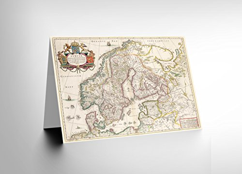 Sweden Antique (NEW MAP ANTIQUE SCANDINAVIA NORWAY SWEDEN FINLAND BLANK GREETINGS CARD CL1111)