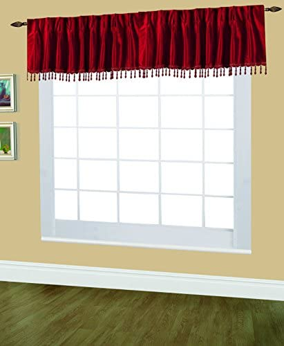 Editex Home Textiles Elaine Lined Pinch Pleated Valance, 48 by 18-Inch, Burgundy