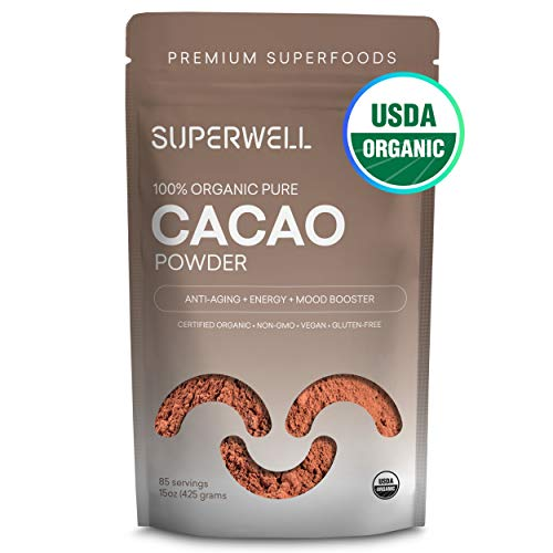 SUPERWELL Organic Cacao Powder - Cocoa Powder (15 Oz / 85 Servings) | Sugar Free | All Natural | Low Carb - Keto Chocolate | Premium Superfood | ()