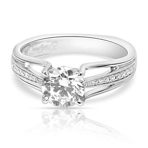 (Simon G Diamond Engagement Ring Setting in 18K White Gold 0.10 CTW)