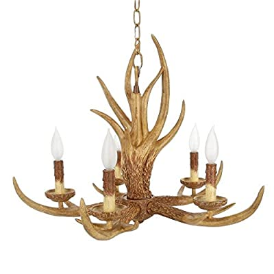 Natural Antler 5-light Hanging Chandelier, Natural Antler Finish and Authentic-looking Antler Horns