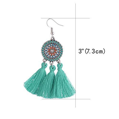 Tassel Earrings Handmade Embroidery Thread Beaded Bohemian Dangle