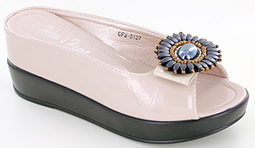 Helens Heart Bling Sparkle Metallic Casual Slide with Hidden Wedge, Assorted Colors -17 Cream
