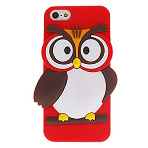 Cartoon Style 3D Lovely Owl Pattern Silicone Case for iPhone 5/5S (Assorted Colors) --- COLOR:Purple