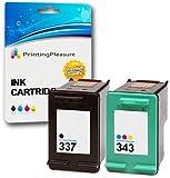Printing Pleasure SET of 2 Remanufactured Printer Ink Cartridges for HP DeskJet D4160 5940 6980 Officejet 6300 6310 6313 6315 Photosmart C4110 | Replacement for HP 337 (C9364EE) & HP 343 (C8766EE)