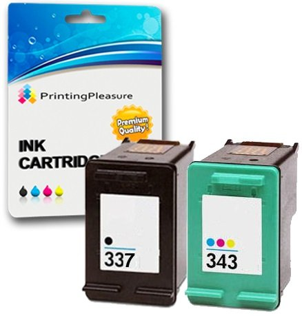 Printing Pleasure 2 (FULL SET) Remanufactured Ink Cartridges Replacement for HP 337 / HP 343 for Photosmart 2570 2573 2575 C4100 C4140 C4150 C4160 C4180 C4183 C4188 C4190 D5100 D5145 D5155 D5160 D5163 D5168 8049 8050 8750 Officejet H470 H470b H470wbt 6300 6310 6313 6315 K7100 Pro K7103 K7108 Deskjet 5940 5943 6940 6980 D4145 D4155 D4160 D4163 D4168 - Black/Colour, High Capacity