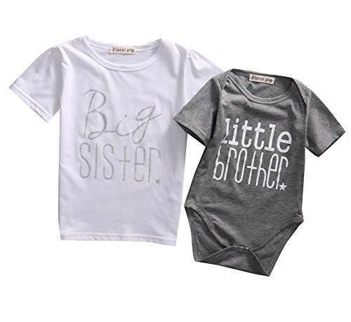 Baby Boys Brother Letter Print Romper Kids Sister T-shirt Matching Clothes Outfits (12-18M, Baby Grey)