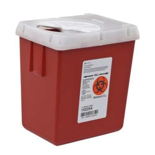 Covidien 1522SA SharpSafety Sharps Container, Phlebotomy, 2.2 quart Capacity, Red (Pack of 60)