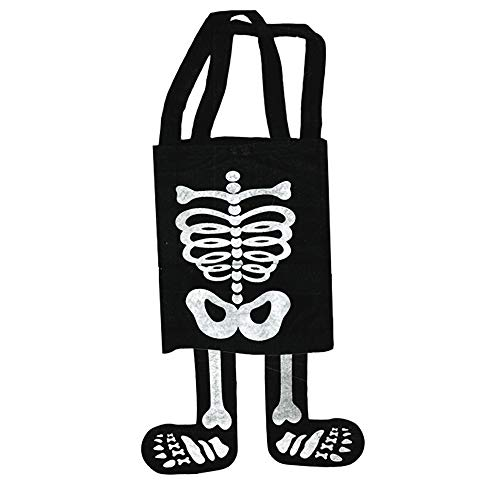 Halloween Trick or Treat Bags Kids Toddler with Carry Straps (Skeleton Design) -