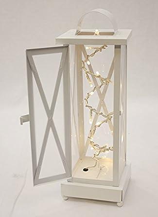 Lanterna Con Luci Led Per Interni Natale Rustico Metallo Bianco Amazon It Illuminazione