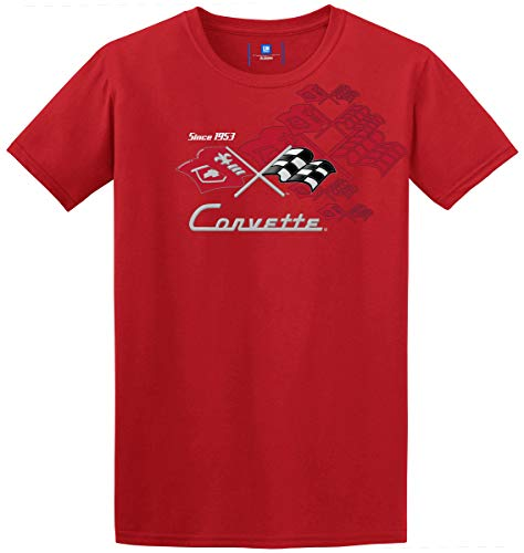 Two Sided Graphics - JH DESIGN GROUP Men's Chevy Corvette 2-Sided Short Sleeve Crew Neck T-Shirt Black Gray & Red (Medium, Red)