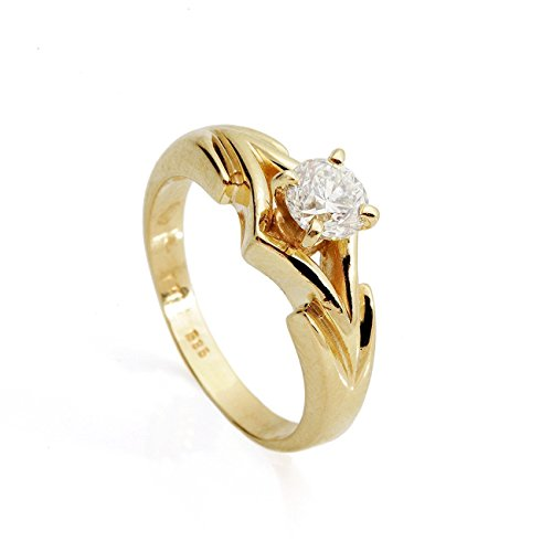 1 carat Diamond solitaire Engagement Ring for women 14K Yellow Gold