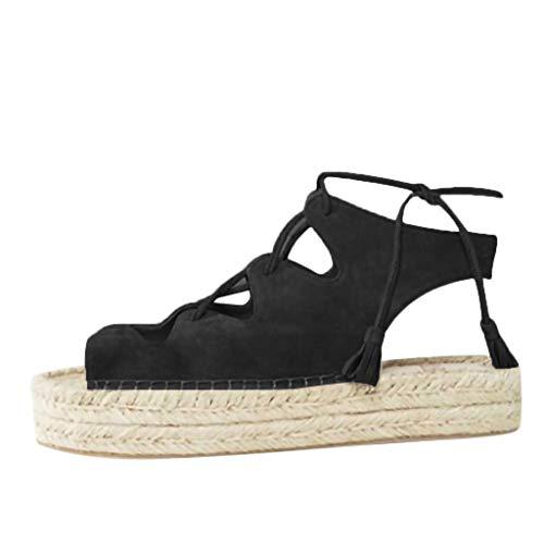 (♡QueenBB♡ Womens Flatform Cork Espadrille Wedge Sandals Tie Up Ankle Strap Slingback Summer Sandals Black)