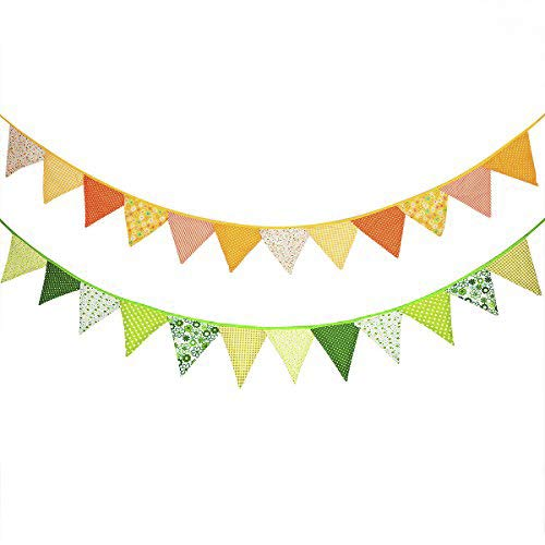 24 Pcs/18 Feet Fabric Banner,Colored Pennant Flag,Vintage Triangle Bunting, Hanging Cotton Garland for Baby Birthday Shower, Wedding,Spring Theme Party,Window Decorations(Yellow and Green)]()