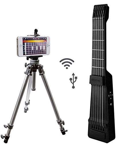 Jamstik+ Black Portable App Enabled MIDI Electric Guitar, for Beginners and Music Creators, iOS, Android & Mac Compatible with Bluetooth Connectivity and a Universal Tripod w/iPhone Mounting Solution