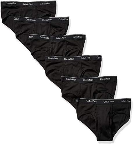 Calvin Klein Men's Cotton Classics Multipack Low Rise Hip Briefs, Black (6 Pack), M