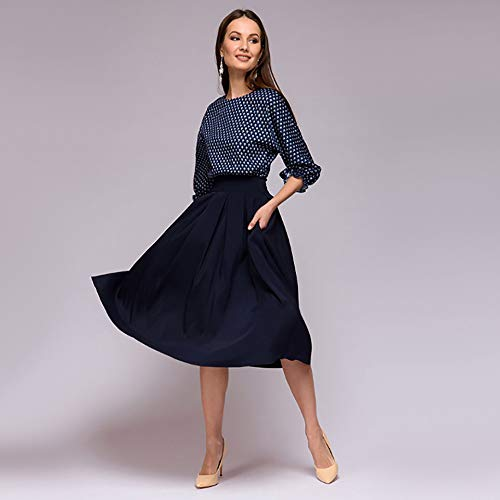 Amazon.com : Elogoog Women Vintage 3/4 Sleeve Print Polka Dot Dress Pleated A line Patchwork Casual Party Dresses : Sports & Outdoors