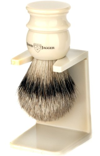 Edwin Jagger Large Silver Tip Badger Hair Shaving Brush With Drip Stand - Imitation Ivory by Edwin Jagger