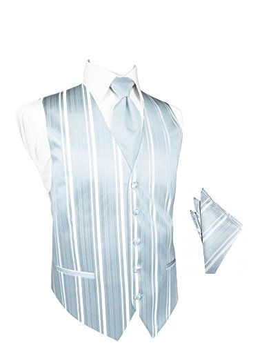 Light Blue Striped Satin Tuxedo Vest with Long Tie and Pocket Square Set Light Blue Striped Satin
