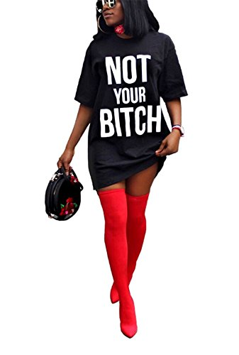 Antique Style Women's Girls Summer Fashion Short Sleeve Letters Printed Plus Size Loose Tees Tunic Top Basic T-Shirts Blouse Club Dress Black XXXL]()