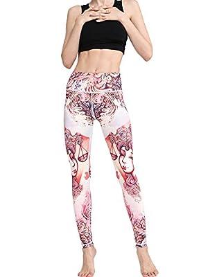 Toomett Womens Yoga pants 12 Constellations Printed High Waist Sports Fitness Leggings #1062
