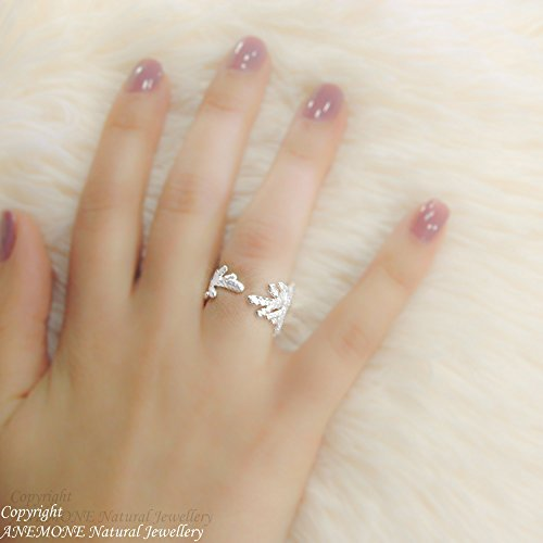 (Handmade Leyland Leaf, Greek Nature Inspired, Open, one size, Adjustable Ring, for Chevalier, Midi, Knuckle ring, Multi-Face ring)
