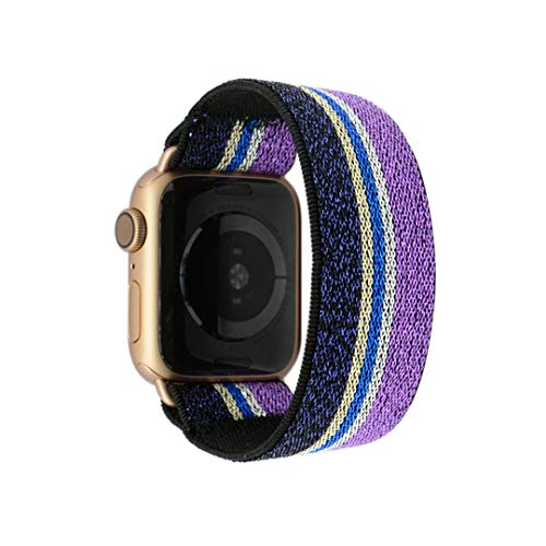 Tefeca Purple Glitter Stripe Pattern Elastic Compatible/Replacement Band for Apple Watch 38mm 40mm 42mm 44mm (Gold Adapter for 38mm/40mm Apple Watch, Wrist Size : 7.0-7.4 inch ()