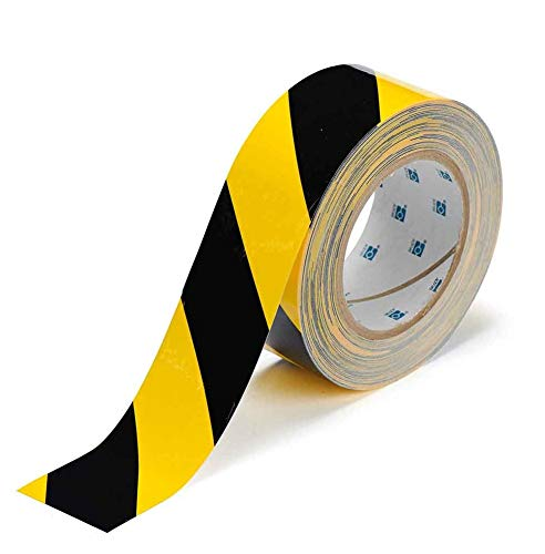 """Yellow Vinyl Shelf Guides - ABC Aisle Marking Tape 3"""" x 36'.1 Roll of Hazard Warning Tape. Flexible Black, Yellow Tape. Vinyl Tape for Making Steps, Pillars, Parking Lots, Walk Ways. Natural Rubber Adhesive. 7 Mil Thick."""