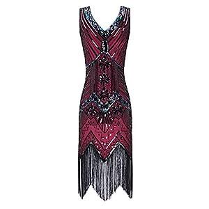 Metme Women's 1920s V Neck Beaded Fringed Gatsby Theme Flapper Dress for Prom (XXL, Wine Red)